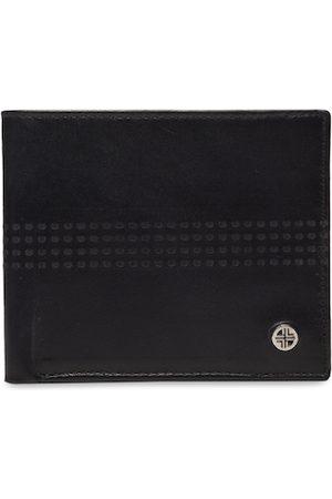 Carlton London Men Black & Maroon Textured Two Fold Wallet