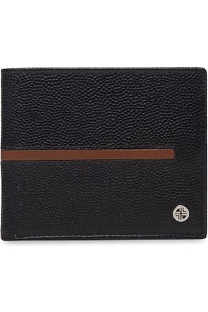 Carlton London Men Black & Maroon Textured Two Fold Wallet