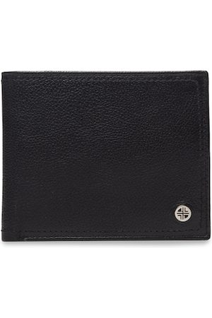 Carlton London Men Black & Tan Brown Textured Two Fold Wallet