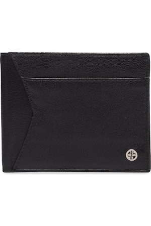 Carlton London Men Black RFID Textured Leather Two Fold Wallet