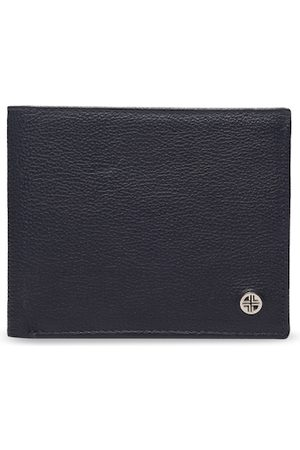 Carlton London Men Navy Blue & Yellow Textured Two Fold Wallet