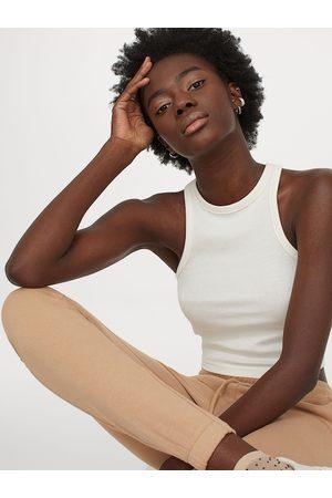 H&M Women Vests - Women White Solid Ribbed vest top