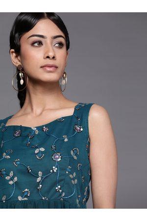 Inddus Women Teal Blue Embellished Tunic