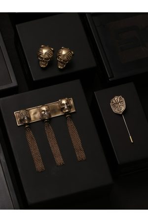 COSA NOSTRAA Men Gold-Toned The Three Wise Skull Accessory Gift Set