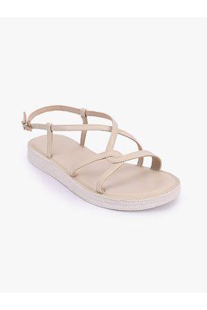 BuckleUp Women Beige Solid Synthetic Patent Open Toe Flats