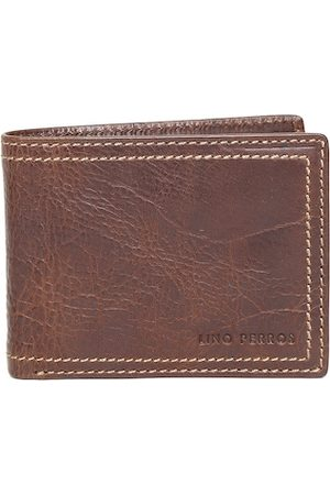 Lino Perros Men Wallets - Men Brown Solid Twofold Leather Wallet