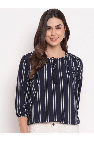 Mayra Blue Striped Tie-Up Neck Puff Sleeves Crepe Regular Top