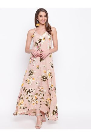 Mayra Women Nude-Coloured Floral Printed Maxi Dress