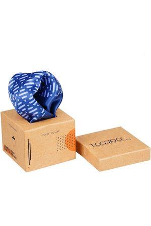 Tossido Men Blue & White Printed Pocket Square