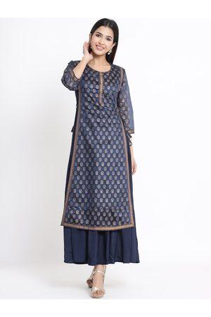 Juniper Women Navy Blue Printed Maxi Dress With Matching Purse & Hairband
