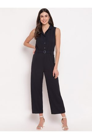 Mayra Women Navy Blue Solid Basic Jumpsuit