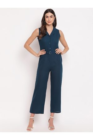 Mayra Women Teal Blue Solid Basic Jumpsuit