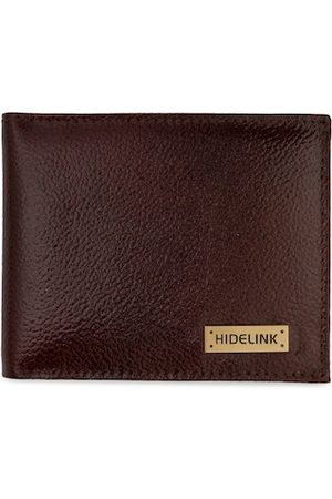 Hidelink Men Brown & Gold-Toned Textured Two Fold Wallet