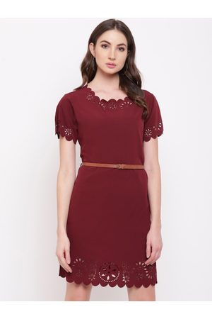 Mayra Women Maroon Solid Fit and Flare Dress