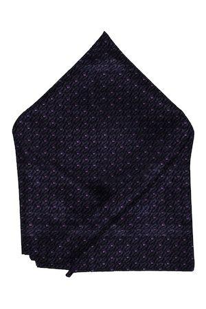 Blacksmith Men Navy Blue & Purple Self-Design Pocket Square