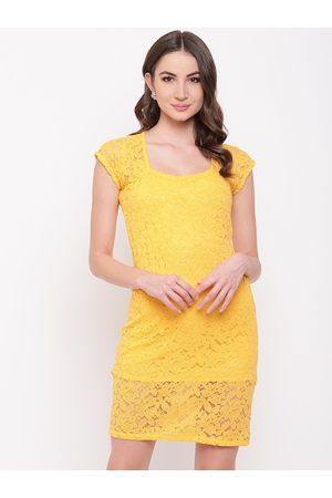 Mayra Women Yellow Self Design Sheath Dress
