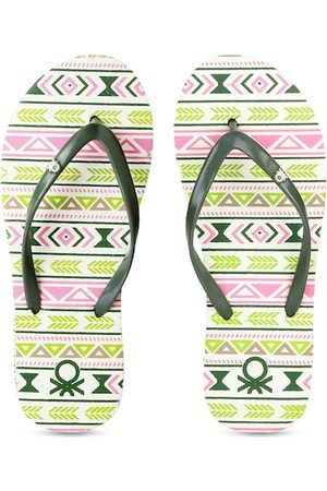 Benetton Women Slippers - Women Green & Pink Printed Thong Flip-Flops