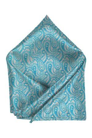 Blacksmith Men Turquoise Blue & Beige Printed Pocket Square