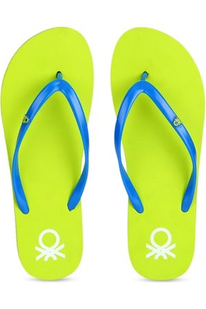 Benetton Women Slippers - Women Lime Green & Blue Solid Thong Flip-Flops