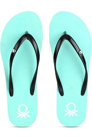 Benetton Women Slippers - Women Black & Sea Green Solid Thong Flip-Flops