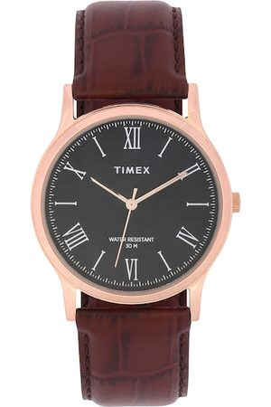 Timex Men Black Leather Analogue Watch TW000R433