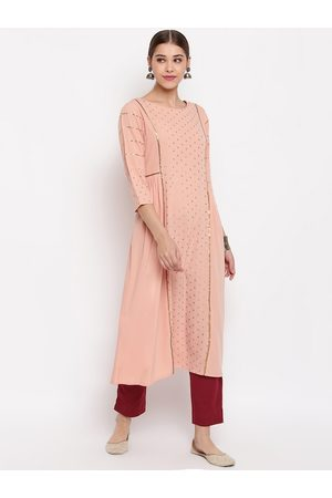 Janasya Women Peach-coloured Ethnic Motifs Sequins Crepe Kurta
