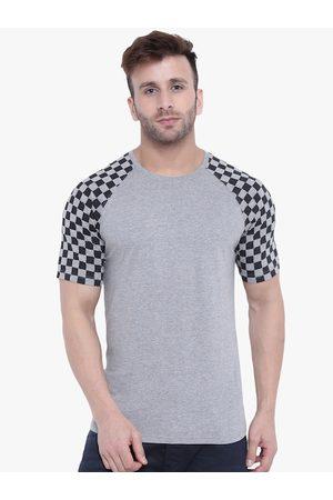 GRITSTONES Men Grey Melange Solid Round Neck T-shirt
