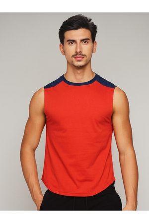 GRITSTONES Men Vests - Men Red Solid Gym Vest