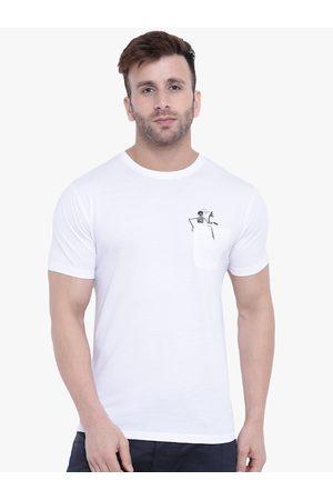 GRITSTONES Men White Solid Round Neck T-shirt