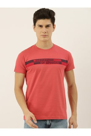 Difference of Opinion Men Red Brand Logo Printed Round Neck T-shirt