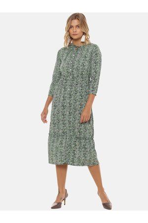 Campus Women Printed Dresses - Women Green Printed A-Line Dress