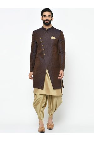 KISAH Men Brown & Beige Printed Sherwani Set