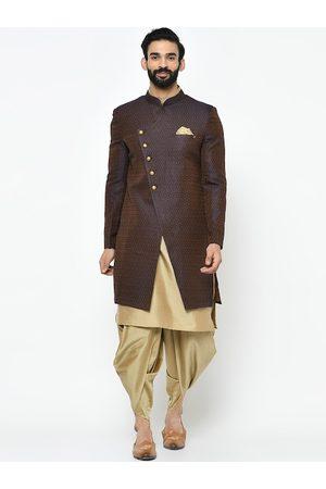 KISAH Men Sherwanis - Men Brown & Beige Printed Sherwani Set