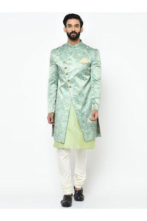 KISAH Men Fluorescent Green & White Sherwani Set