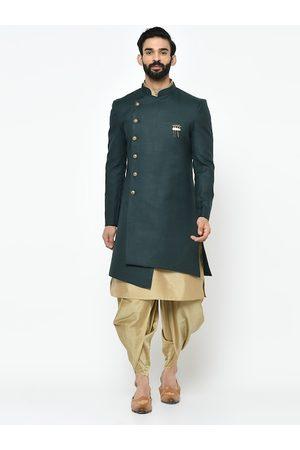 KISAH Men Green & Gold-Toned Solid Sherwani Set