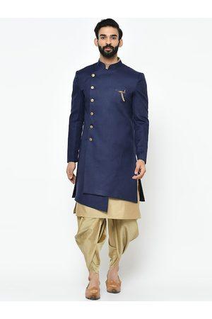 KISAH Men Navy Blue & Gold-Coloured Sherwani With Achkan