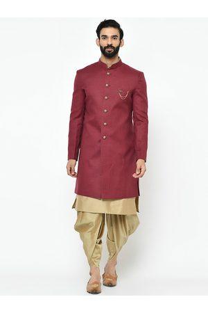 KISAH Men Maroon & Gold-Coloured Kurta Sherwani Set