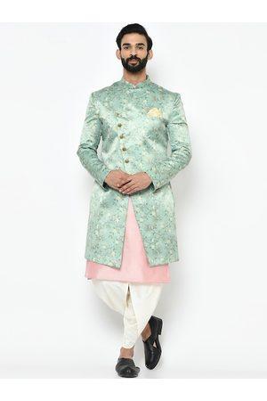 KISAH Men Blue & Pink Printed Sherwani Set