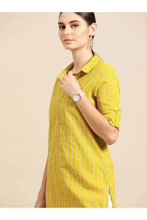 Anouk Women Lime Green & Teal Blue Striped Pure Cotton Straight Kurta
