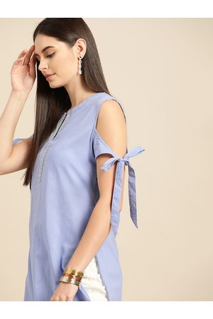 Anouk Blue Solid Pure Cotton Cold-Shoulder Sleeves Thread Work Kurta with Tie-up detail
