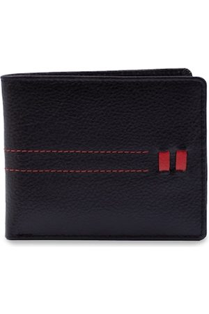 RICH BORN Men Black Textured Genuine Leather Two Fold Wallet