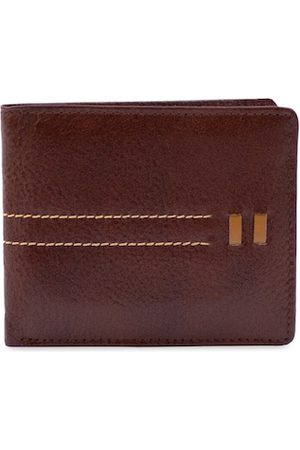 RICH BORN Men Brown Textured Two Fold Leather Wallet
