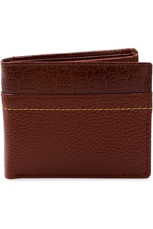 RICH BORN Men Brown Textured Leather Two Fold Wallet