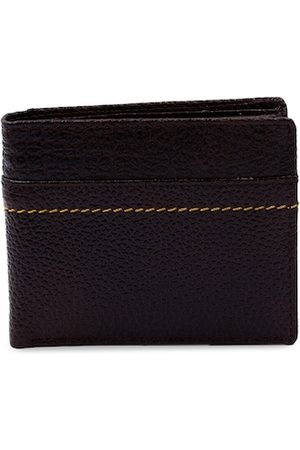 RICH BORN Men Brown Solid Genuine Leather Two Fold Wallet