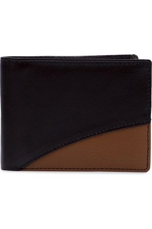 RICH BORN Men Brown & Black Textured Leather Two Fold Wallet