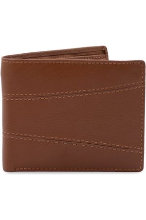 RICH BORN Men Brown Textured Two Fold Wallet