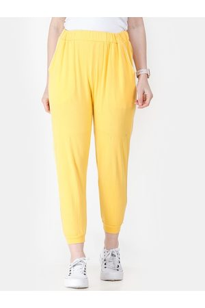 Cation Women Yellow Solid Straight-Fit Joggers