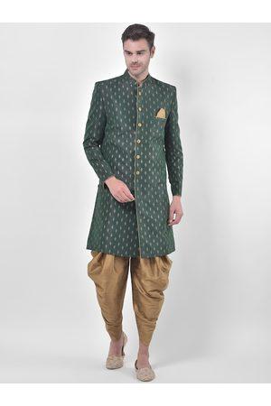 DEYANN Men Green & Gold-Coloured Printed Sherwani Patiala Set