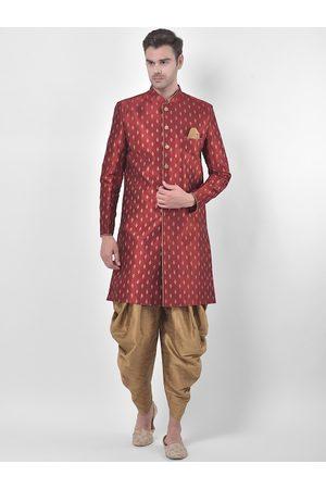 DEYANN Men Red & Brown Sherwani Patiala Set