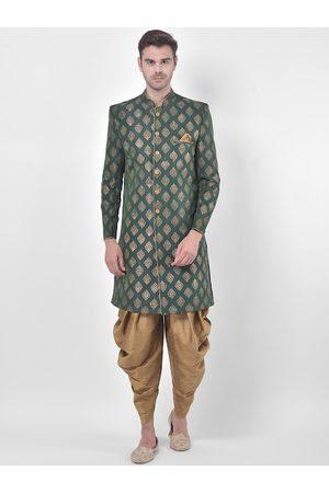 DEYANN Men Green & Brown Sherwani Patiala Set